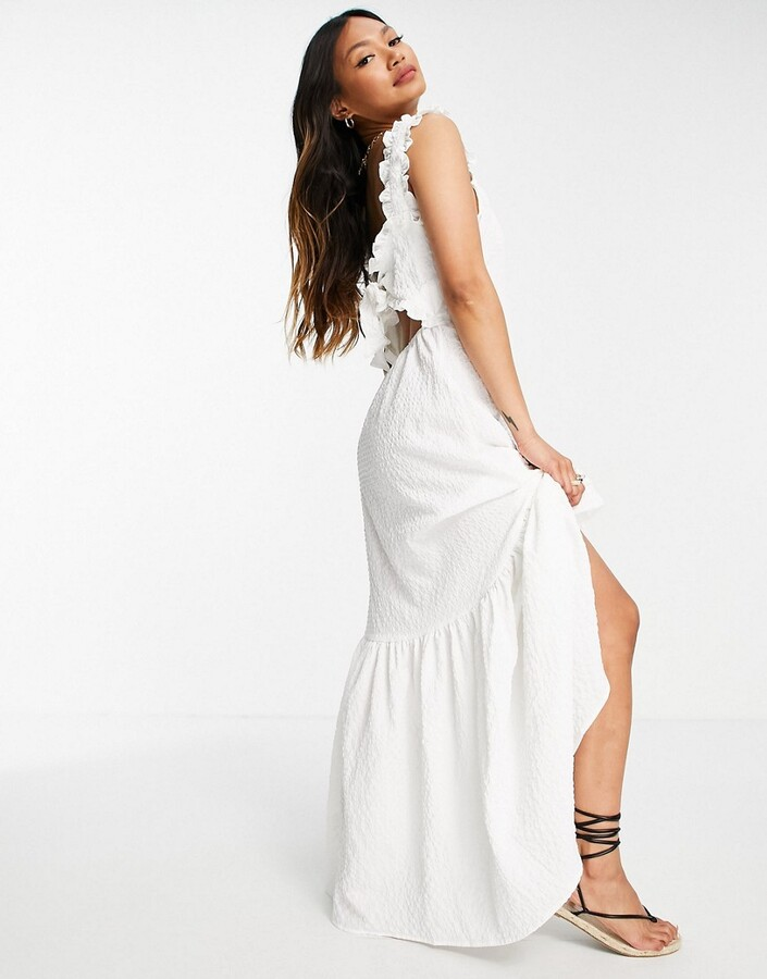 ASOS DESIGN tie back maxi dress with pephem in texture in white