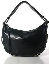 Kooba Black Leather Metal Detail Trim Small Hobo Handbag