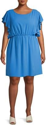 Gabrielle Plus Flutter-Sleeve Dress