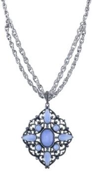 "2028 Pewter Tone Lt. Blue Moonstone Large Filigree Pendant Necklace 16"" Adjustable"