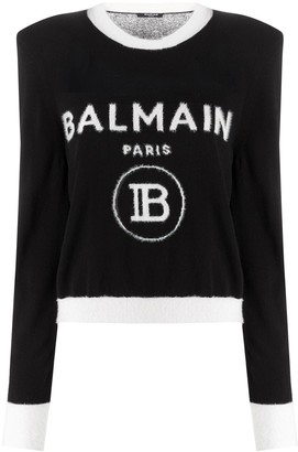 Balmain Logo-Jacquard Shoulder-Pad Jumper