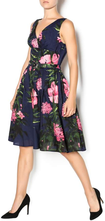 Aryeh Navy And Pink Floral Dress
