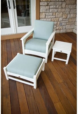 Polywoodâ® Club 3-Piece Deep Seating Set Patio Chair with Cushions POLYWOODA