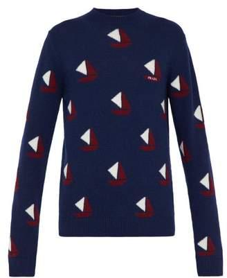 Prada Sailboat Intarsia Wool Blend Sweater - Mens - Blue