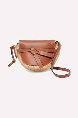 Loewe Gate Mini Leather And Woven Raffia Shoulder Bag - Tan