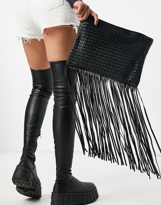 My Accessories London woven clutch with fringing in black