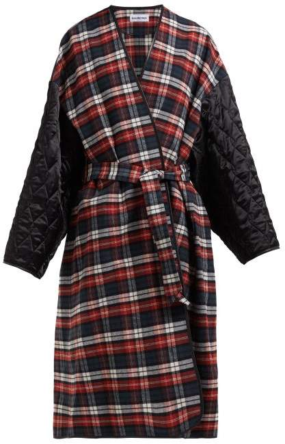 Balenciaga Quilted Sleeve Checked Cotton Wrap Coat - Womens - Red Multi
