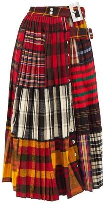 Chopova Lowena Asymmetric Pleated Tartan-wool Midi Skirt - Red Multi