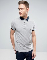 Tommy Hilfiger Contrast Cuff Polo Logo Collar Reverse Slim Fit in Gray Marl