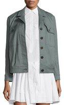 Derek Lam 10 Crosby Linen-Blend Utility Jacket, Army