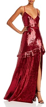 Rachel Zoe Walker Sequined Faux-Wrap Gown