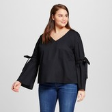 Who What Wear Women's Plus Size Bell Sleeve Vee