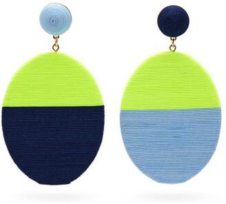 MaryJane Claverol Sissi Mismatched Drop Clip Earrings - Blue