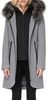 Soia & Kyo Women's Hooded Wool Blend Coat With Detachable Genuine Fox Fur