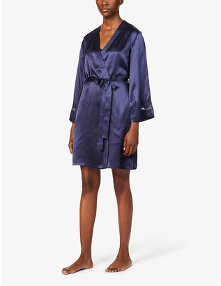 Nk Imode Morgan floral lace-trimmed silk-satin robe