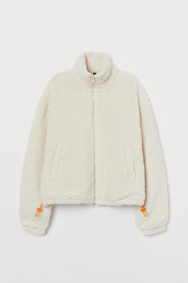 H&M Stand-up-collar Fleece Jacket - Beige