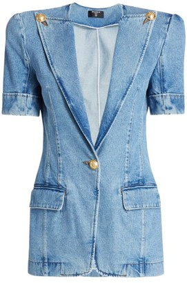 Balmain Short-Sleeve Denim Blazer