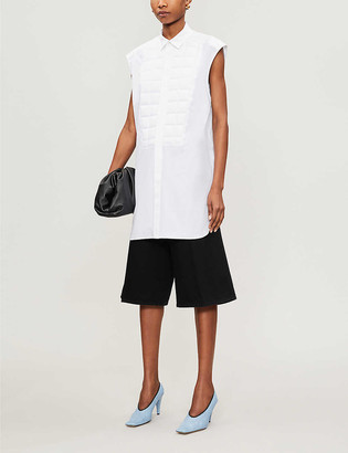 Bottega Veneta Geometric-panel sleeveless cotton shirt
