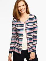 Talbots Long-Sleeve Charming Cardigan - Watercolor Stripes