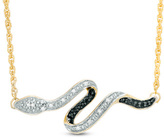 Zales Enhanced Black and White Diamond Accent Snake Necklace in 10K Gold