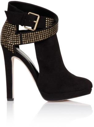 Little Mistress Footwear Black Stud Buckle Platform Boot