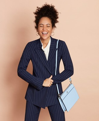 Brooks Brothers Striped Stretch-Wool Double-Breasted Jacket