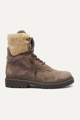 Moncler Patty Shearling-trimmed Suede Ankle Boots - Sand