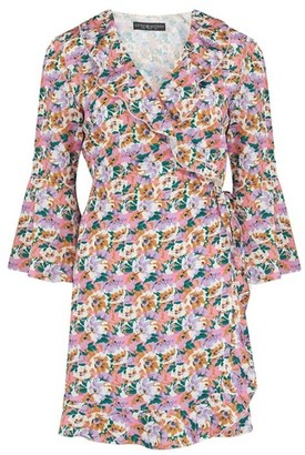 Dorothy Perkins Womens Girls On Film Multi Colour Sleeve Wrap Dress