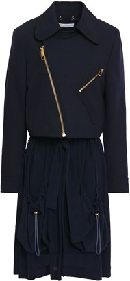 Chloé Convertible Wool-blend Twill And Silk Crepe De Chine Jacket