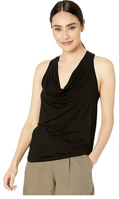 Michael Stars Eve Luxe Jersey Cowl Neck Tank Top (Black) Women's Clothing