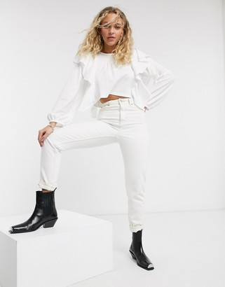 Topshop long sleeve frill top in white