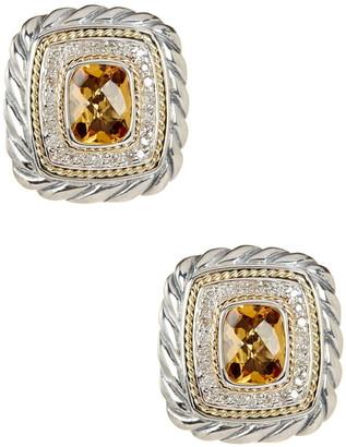 Effy Sterling Silver & 18K Yellow Gold Cushion Shape Citrine & Diamond Halo Earrings - 0.36 ctw