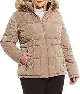 Calvin Klein Plus Short Faux Fur Trim Down Jacket