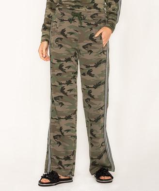 Miss Me Women's Casual Pants CAMO - Green Camo & Stripe Pocket Pants - Women