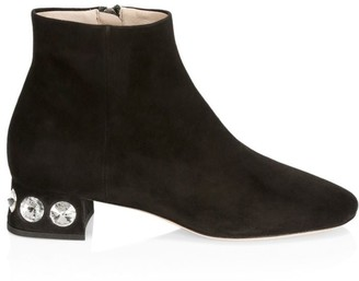 Miu Miu Jewelled Suede Ankle Boots
