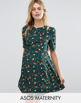 Asos Cut out Shoulder 40's Printed Tea Dress