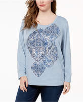 Style&Co. Style & Co Plus Size Printed Sweatshirt, Created for Macy's