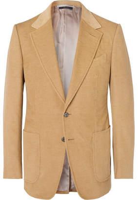 Tom Ford Camel Shelton Slim-Fit Cotton And Linen-Blend Corduroy Blazer