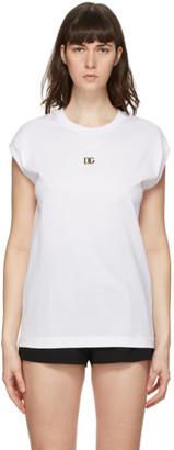 Dolce & Gabbana White Metal Logo Tank Top