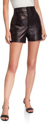 7 For All Mankind Button-Front Leather Shorts