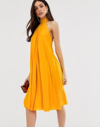 Asos Design DESIGN backless halter pleated midi dress-Yellow
