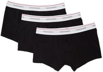 DSQUARED2 Three-Pack Black Logo Boxer Briefs