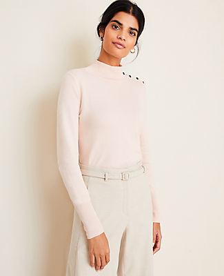 Ann Taylor Petite Shoulder Button Turtleneck Sweater