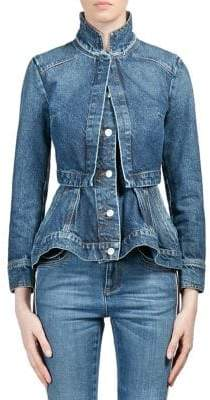 Alexander McQueen Women's Vintage Double Layer Denim Peplum Jacket - Light Denim - Size 38 (2)