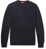 Isaia Elbow-patch Mélange Cashmere Sweater - Midnight blue