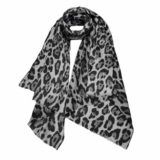 Meiz Ladies Small Leopard Print Woolly Blend Soft Scarf Shawl (Dark Grey)