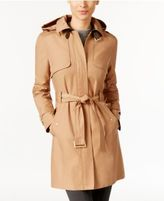 Cole Haan Hooded Belted Buckle Trench Coat