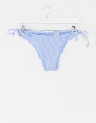Hollister Cheeky frilly bikini bottoms in rib