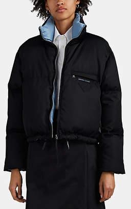 Prada Women's Logo Tech-Twill Crop Puffer Jacket - Black