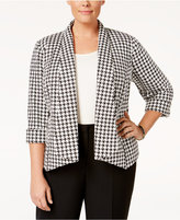 Kasper Plus Size Houndstooth Open-Front Jacket